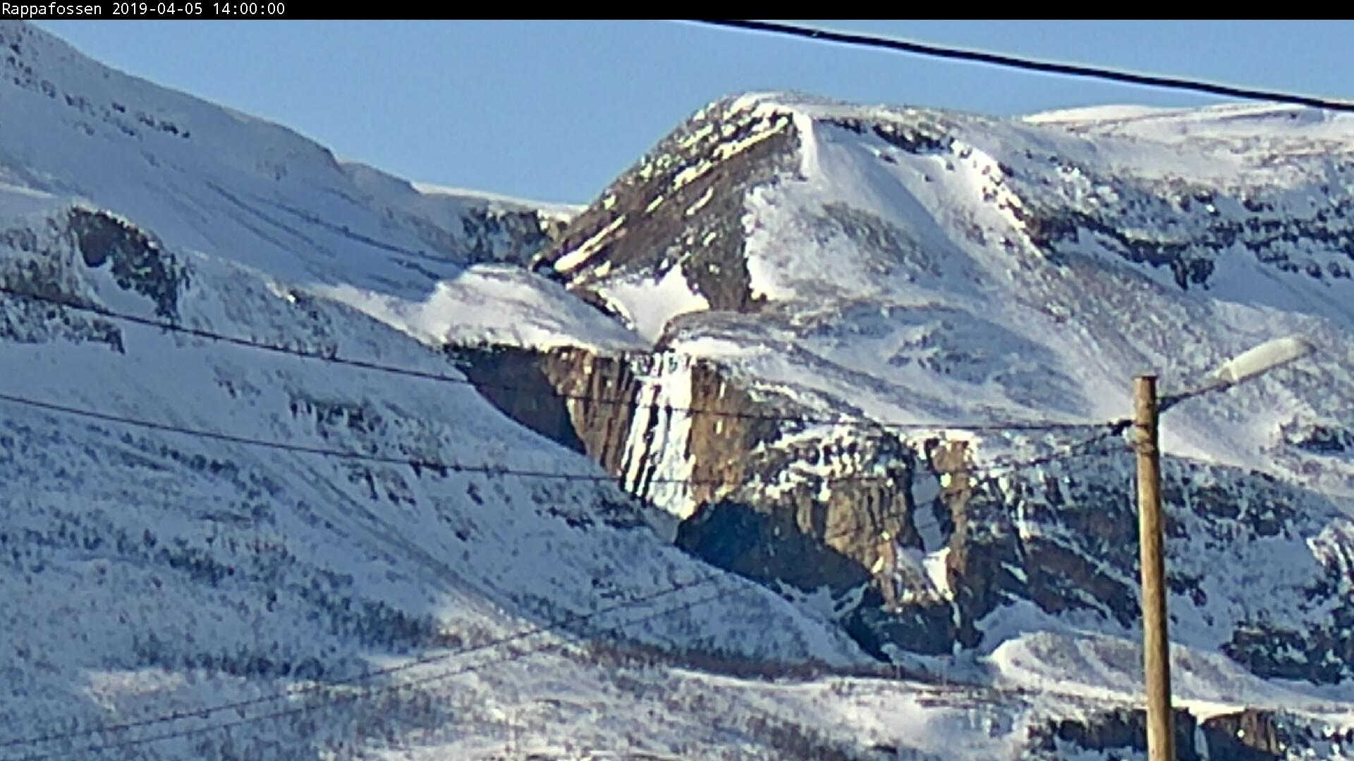 Webkamerabilde av Rappafossen i Porsanger